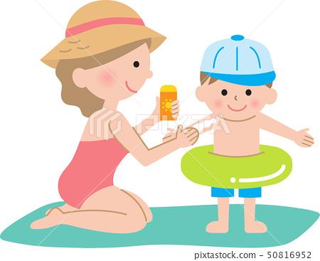 Sunscreen mom and boy 50816952