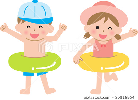 Boy and girl in swimsuit 50816954