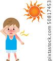 Heat stroke sunburn boy 50817453