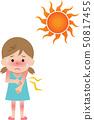 Heat stroke sunburn girl 50817455