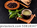 Top view of green tea matcha in a bowl on wooden 50818347