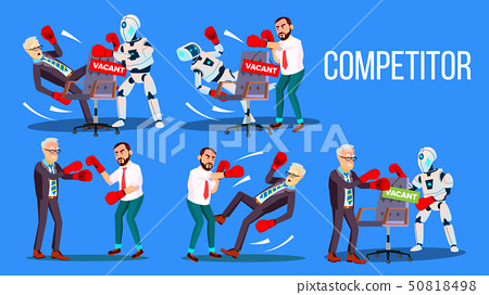 Competitor Of Work Vacancy Position Set Vector 50818498