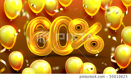 Sixty Percent Or 60 Marketing Sale Offer Vector 50818625