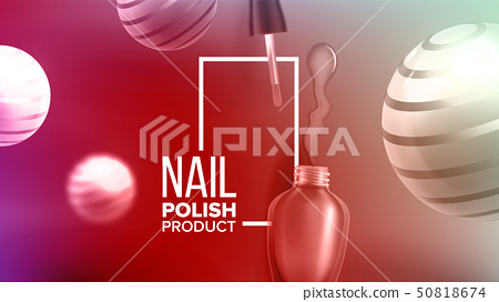 Bottle Of Rose Nail Polish Product Banner Vector 50818674