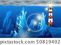 landscape of water wave in the ocean in night 50819402