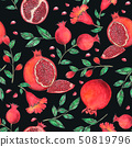 Pomegranate Seamless Pattern hand paint watercolor 50819796