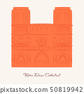 Travel vector banner or logo. The famous Cathedral of Notre Dame de Paris, France. French landmark 50819942