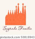 May 15, 2014: A vector illustration of La Sagrada Familia, the cathedral designed by Antoni Gaudi in 50819943