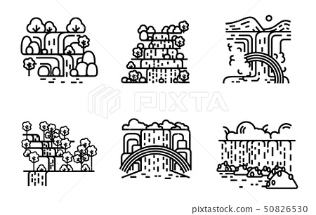 Waterfall icon set. Flat line illustration. 50826530
