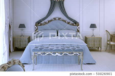 Front view on luxury double bed 50826901