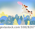 Beagle dog catching a flying disc in the air 50828267