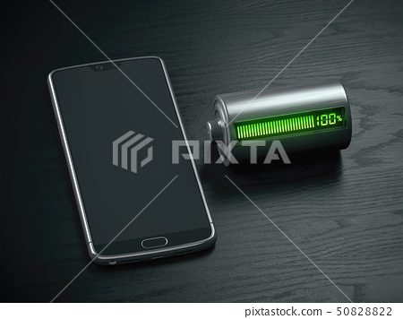 Charging of a mobile phone battery concept.  50828822