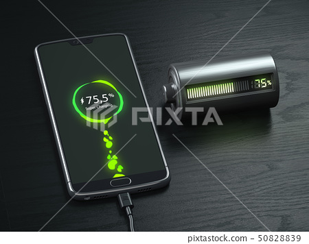 Charging of a mobile phone battery concept.  50828839