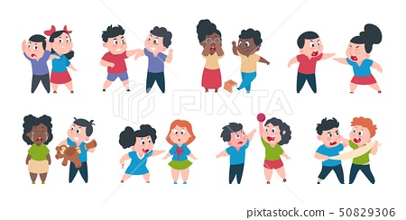 Kid bullying. Bad child behavior, scared and strong angry children conflict, cartoon characters 50829306