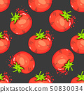 Vintage Red Tomatoes On Seamless Pattern Vector 50830034