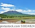 五月晴れ의 푸른 하늘과 전원 풍경 그리고 후지산 50834824
