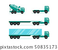 Truck illustration sets. trailer with container, 50835173