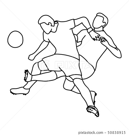 two soccer player playing football vector 50838915