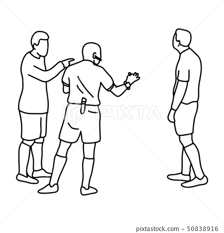 soccer player and referee vector illustration 50838916