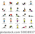 Woman practicing yoga, 25 poses for your design 50838937