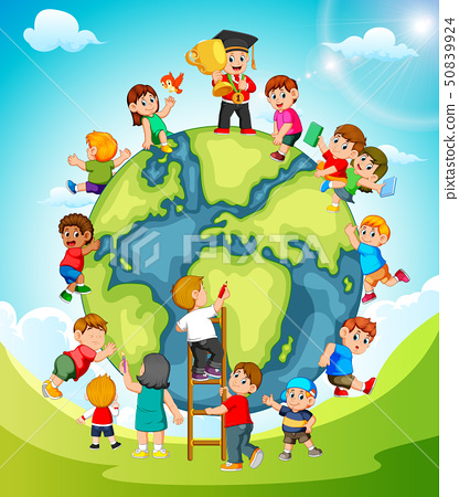 the earth with the children playing around it 50839924