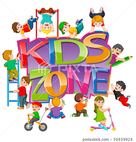 the kids zone text with the children playing  50839928