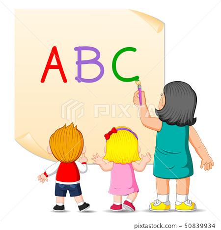 the teacher is teaching the alphabet  50839934