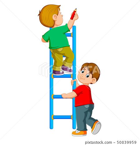 the boy is writing on the ledder and his friend  50839959
