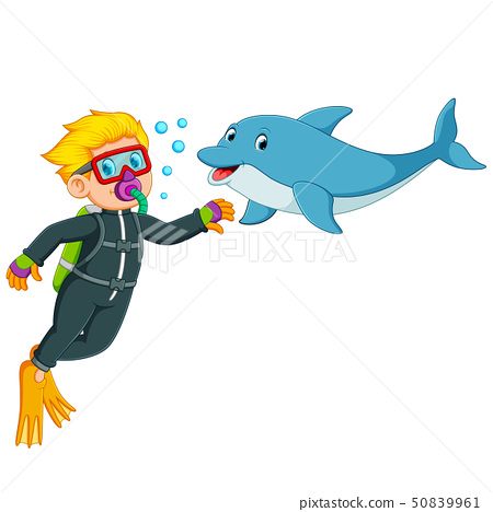 the boy is playing with the dolphin  50839961