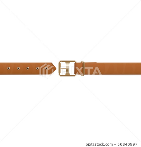 Brown belt or waistband realistic vector illustration isolated on background. 50840997