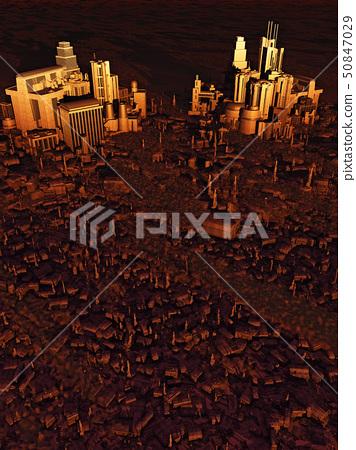 Future City Bird's Eye View at Sunset 50847029