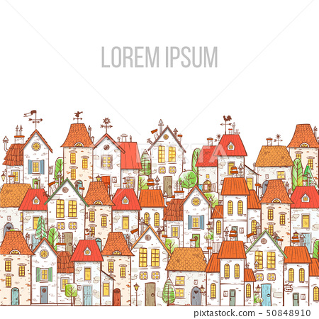 Illustration with doodle cartoon colored houses on white background. 50848910