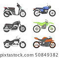 Different types of motorcycles. Vector set illustrations in cartoon style 50849382