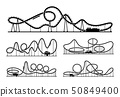 Rollercoaster vector silhouettes isolate on white background. Amusement park illustration 50849400