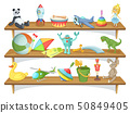 Illustration of childrens store with funny cartoon toys on shelves. Vector set 50849405