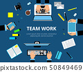 Poster with hands and computer devices. Business presentation or other actions. Vector background 50849469