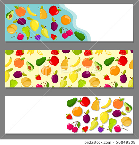 Set of horizontal banners with fruits 50849509