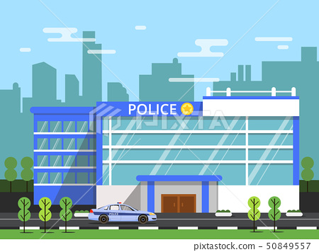 Police or security department. Exterior of municipal building. Vector illustration in flat style 50849557
