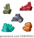 Set of rocks and crystals. Cartoon isometric 3D flat style 50849561