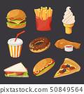 Fast food illustration in cartoon style. Pictures of burger, cold drinks, tacos and hotdog 50849564