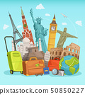 Travel poster design with different world landmarks. Vector illustrations 50850227