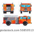 Different sides of fire truck. Specific professional car for fireman 50850513