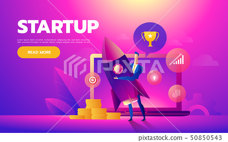 Start up concept. Businessman holds a flying rocket in hand, symbol of start of project's launch 50850543