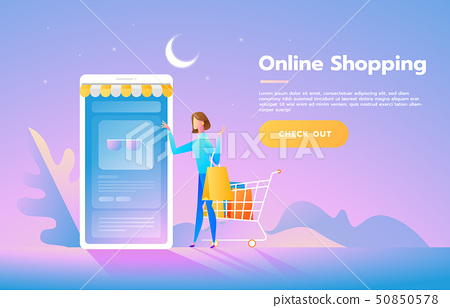 Sale, consumerism and people concept. Young woman shop online using smartphone. Landing page 50850578