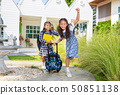 Cute student girl happy to go to school 50851138