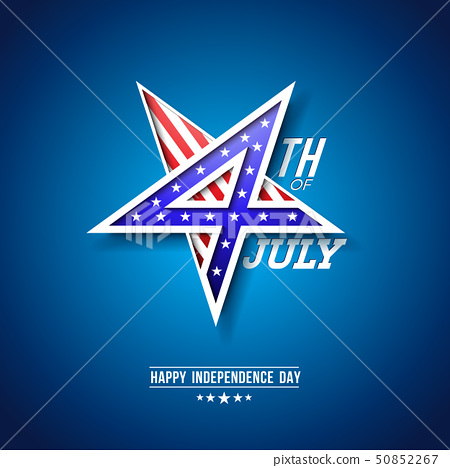 4th of July Independence Day of the USA Vector Illustration with 4 Number in Star Symbol. Fourth of 50852267