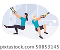 People working out on trx fitness training exercising 50853145