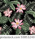 Botanical seamless pattern green leaves black 50853240