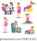 Pregnant woman. Pregnancy female diet eating drinking sitting doing exercises, cartoon vector 50853391