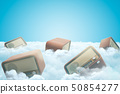 3d rendering of vintage radio in white clouds on blue background 50854277